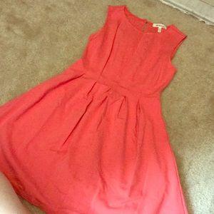Salmon pleated dress